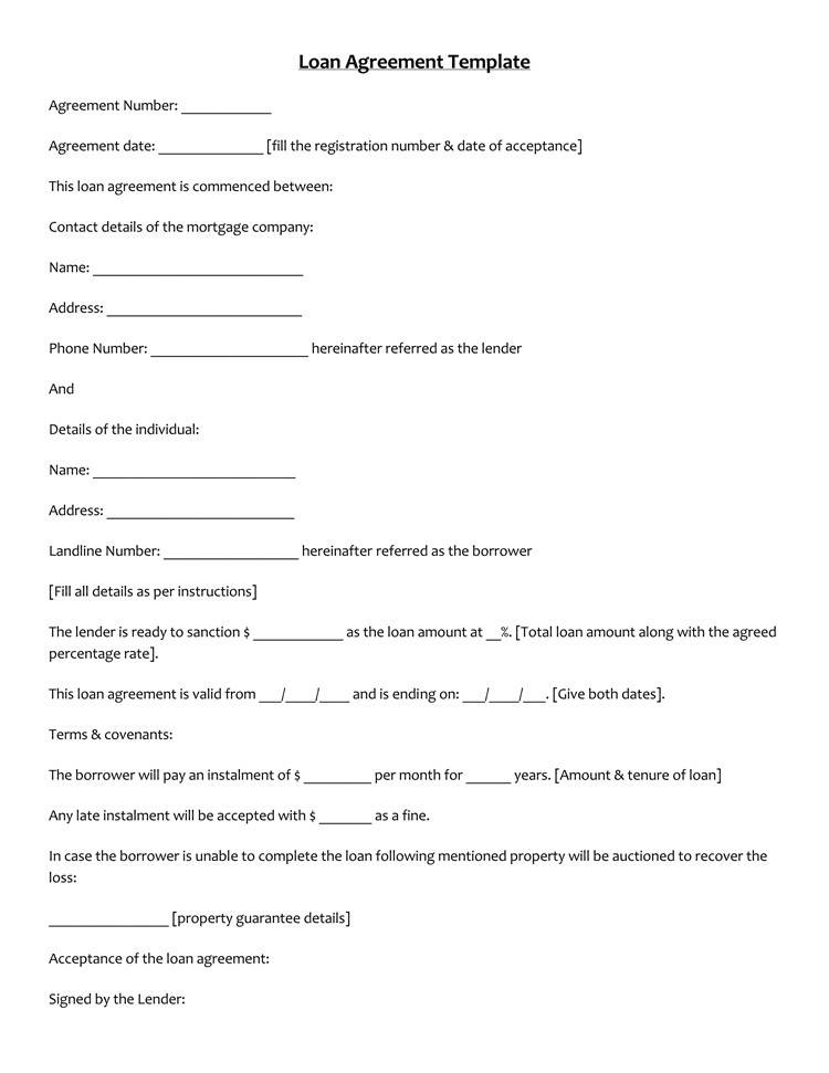 Simple Loan Document Template
