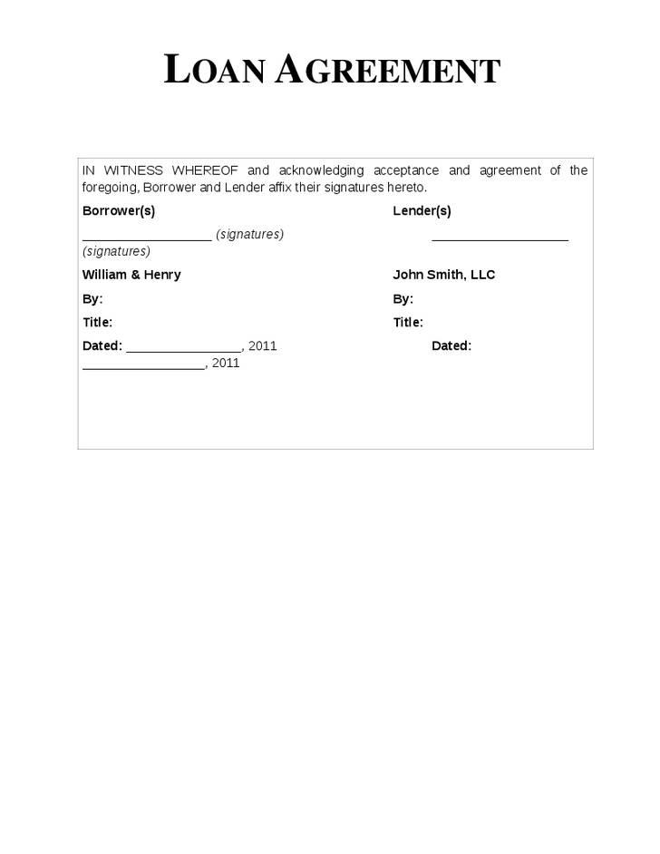 Simple Loan Letter Template