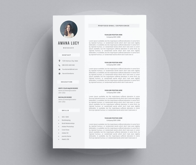 Simple Modern Resume Template Word