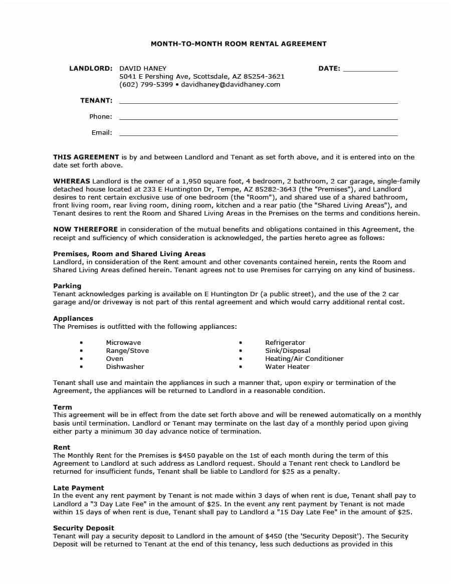 Simple Month To Month Rental Agreement Template