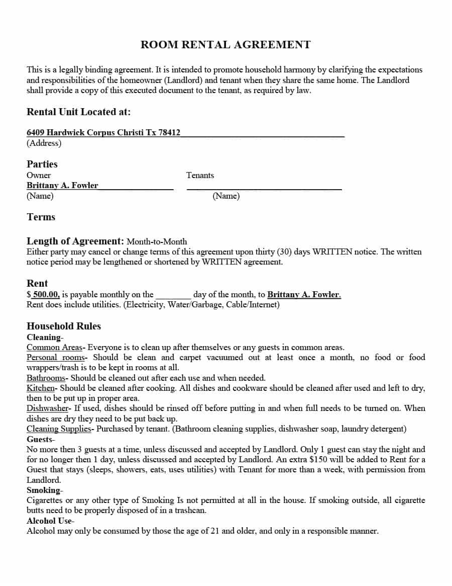 Simple Month To Month Room Rental Agreement Template