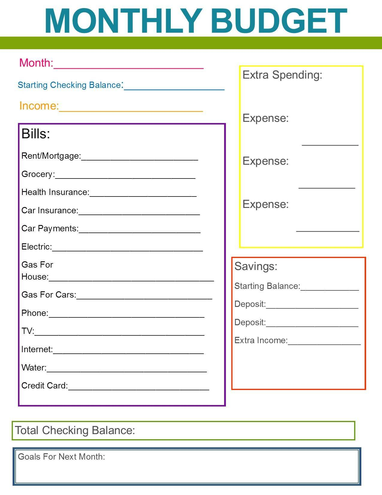 Simple Monthly Household Budget Template