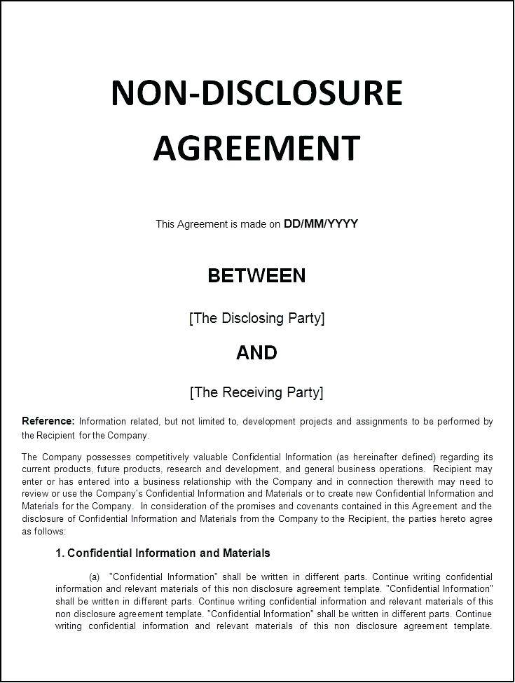 Simple Non Disclosure Agreement Template Word