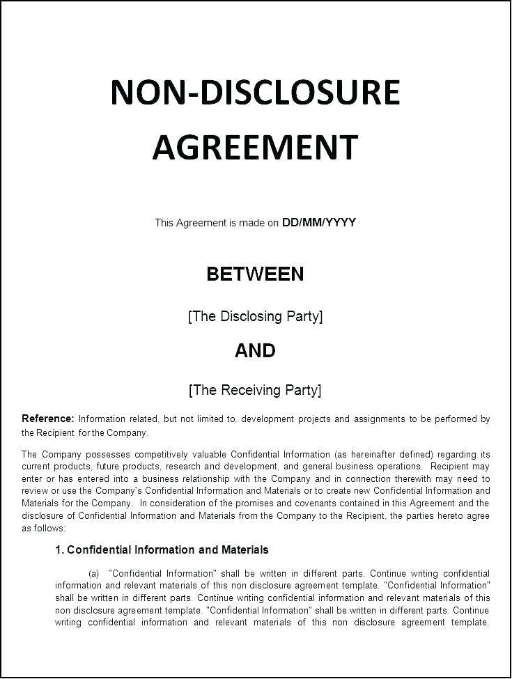 Simple Non Disclosure Non Circumvention Agreement Template