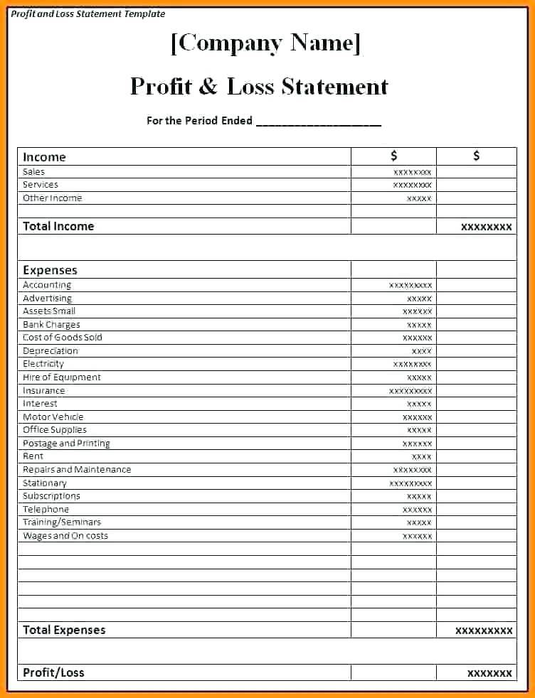 Simple Pl Excel Template