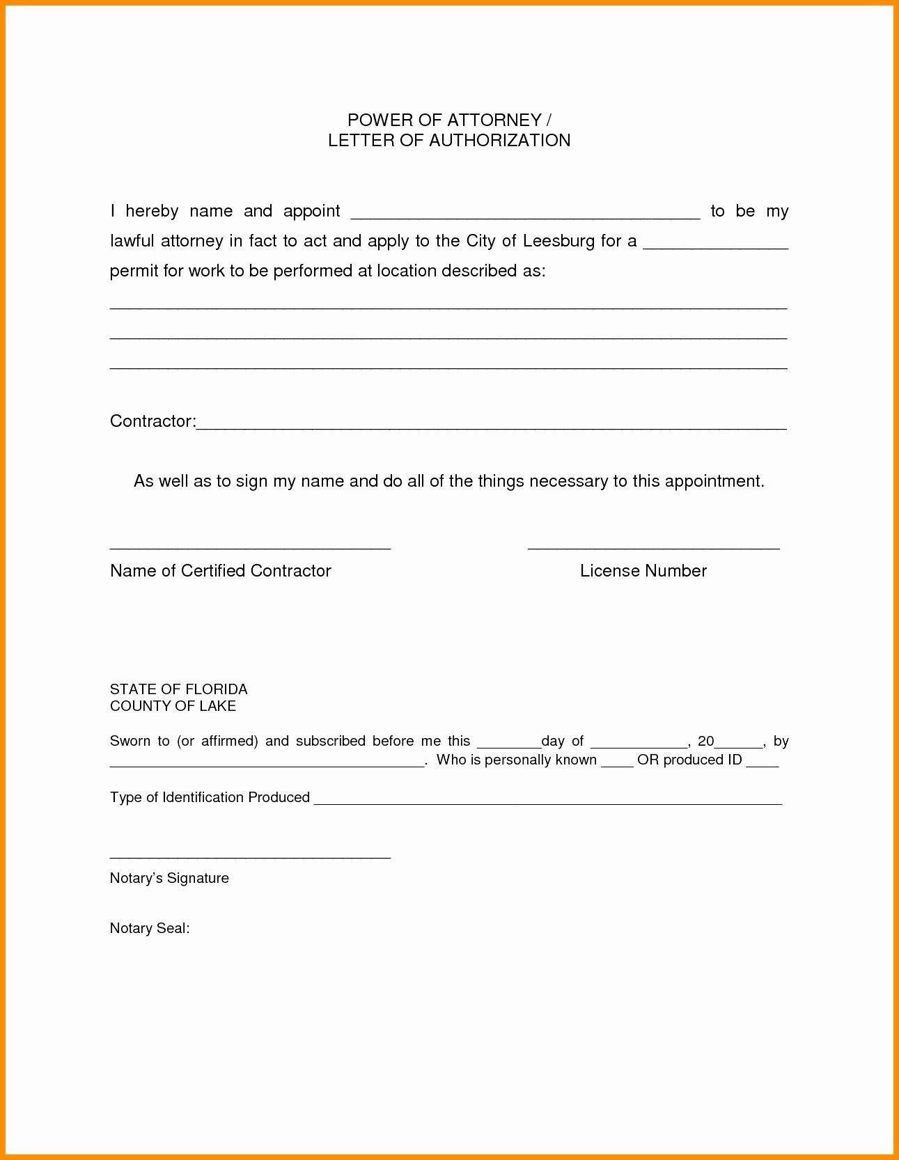 Simple Power Of Attorney Form Template