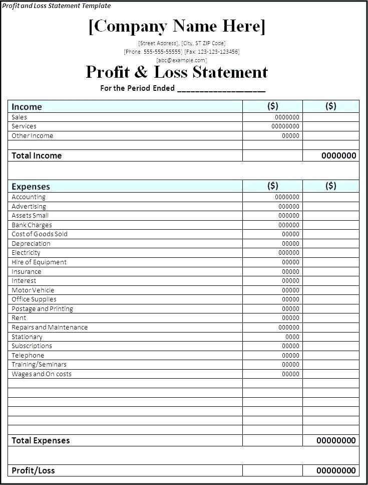Simple Profit And Loss Account Format In Excel
