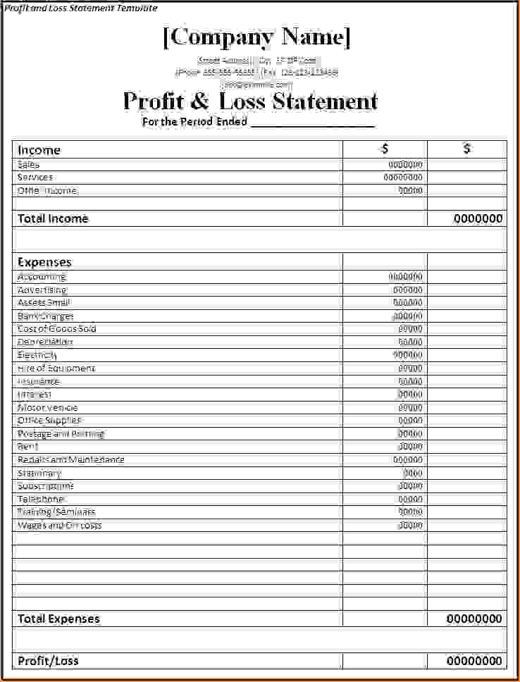 Simple Profit And Loss Form