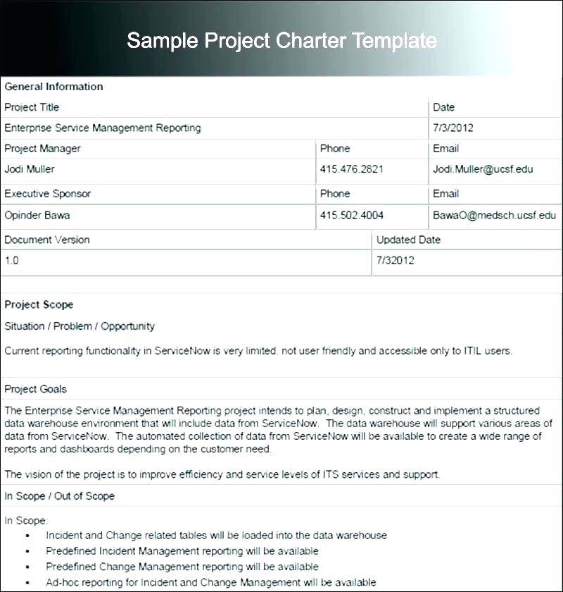 Simple Project Charter Template Free