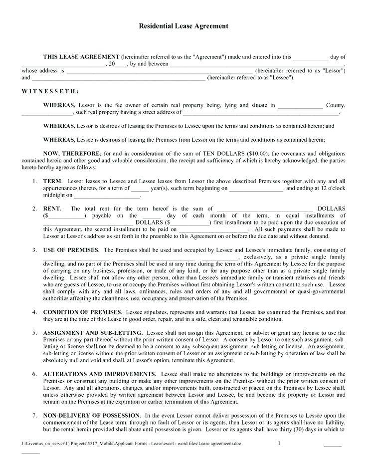 Simple Residential Lease Agreement Template Word