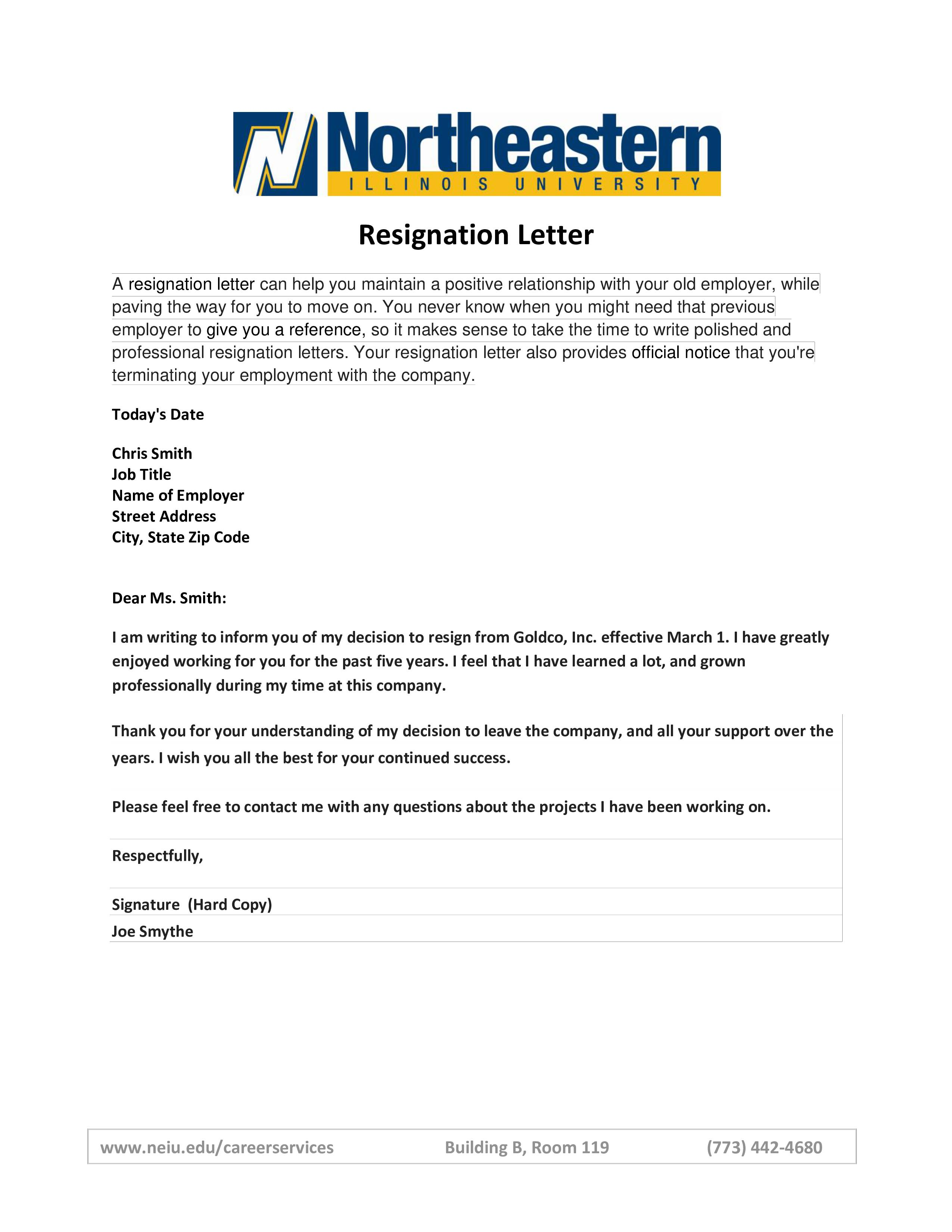 Simple Resignation Letter Template Free
