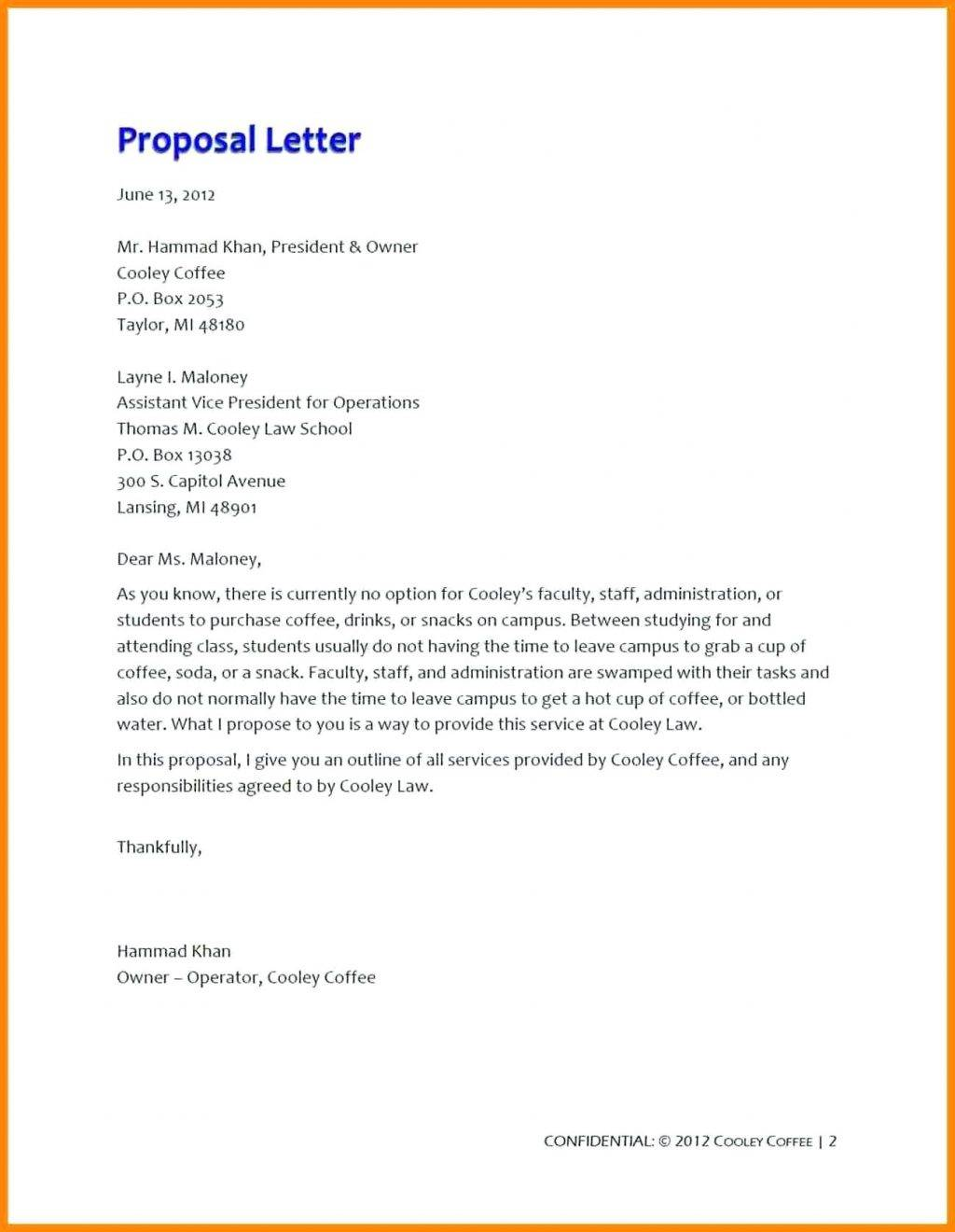 Simple Restaurant Business Proposal Template