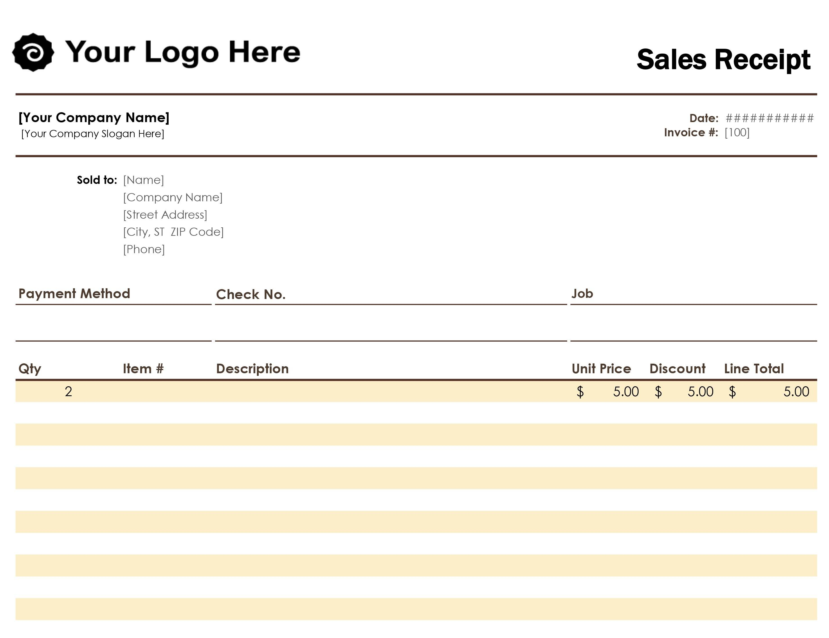 Simple Sales Receipt Template Free