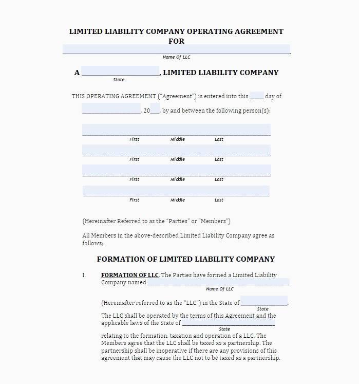 Simple Sample Llc Operating Agreement Template