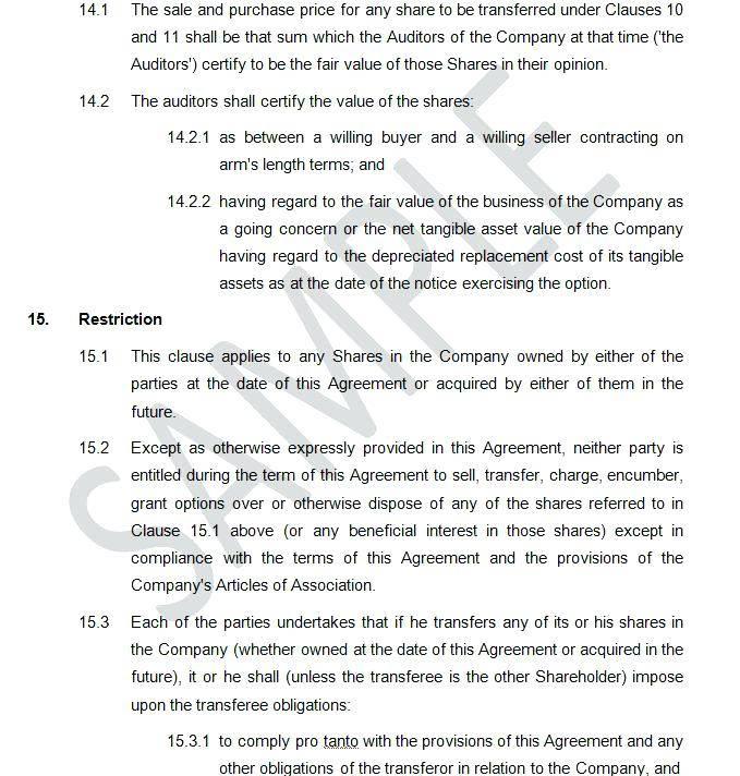 Simple Shareholder Agreement Template Uk