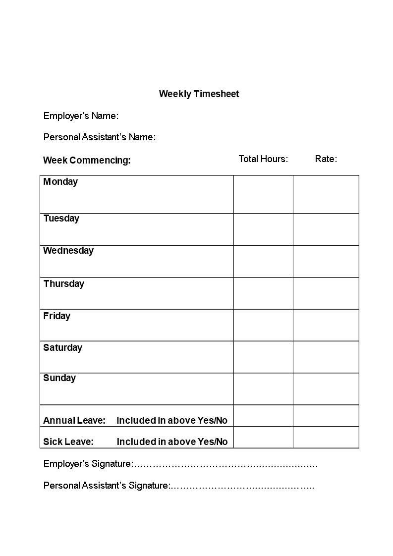 Simple Timesheet Templates