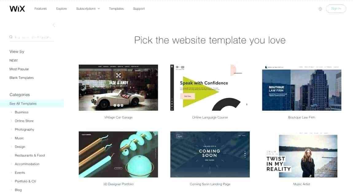 Simple Website Templates Wix
