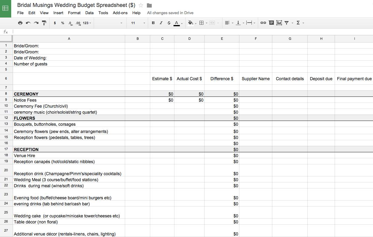 Simple Wedding Budget Spreadsheet Template
