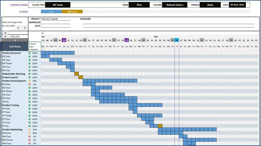 Simple Weekly Gantt Chart Template