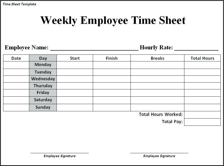 Simple Weekly Timesheet Template Excel