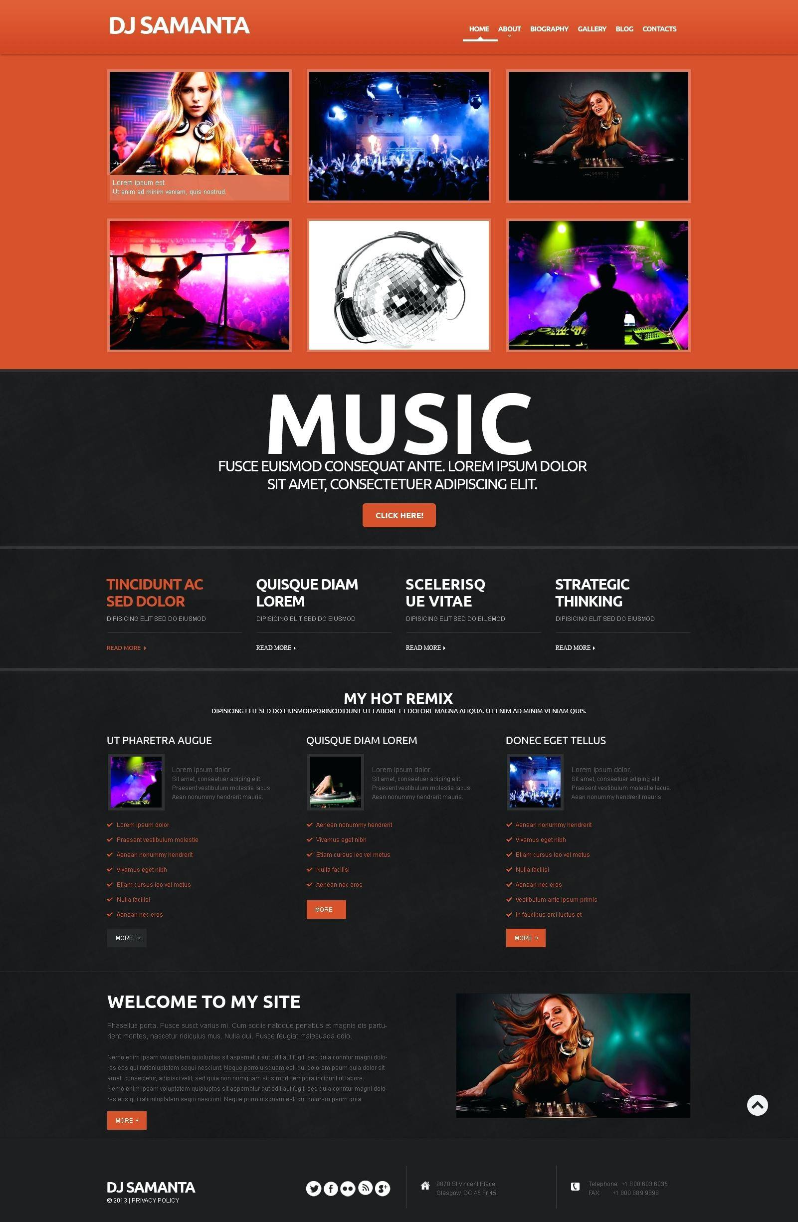 Singer Website Templates WordPress