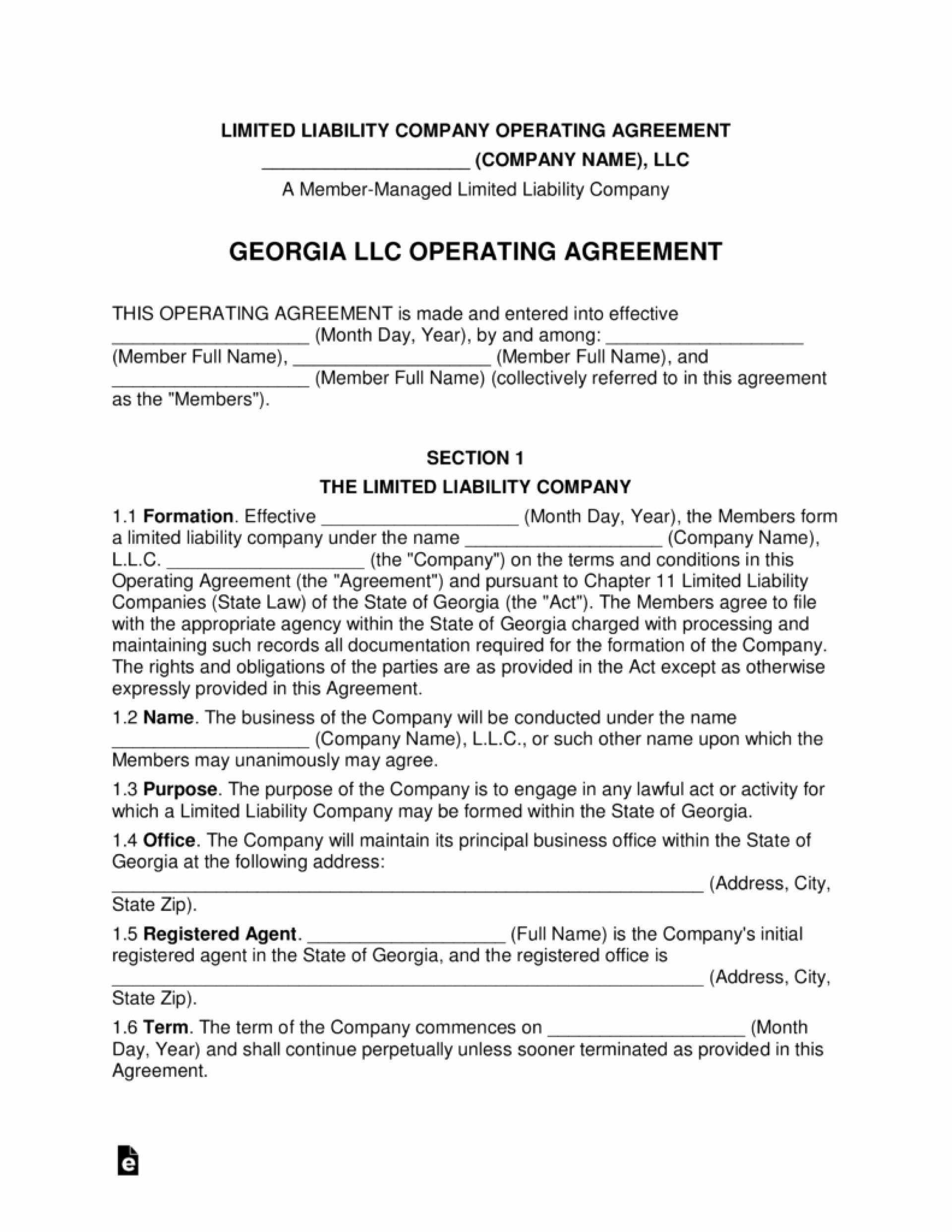 Single Member Llc Operating Agreement Template Georgia