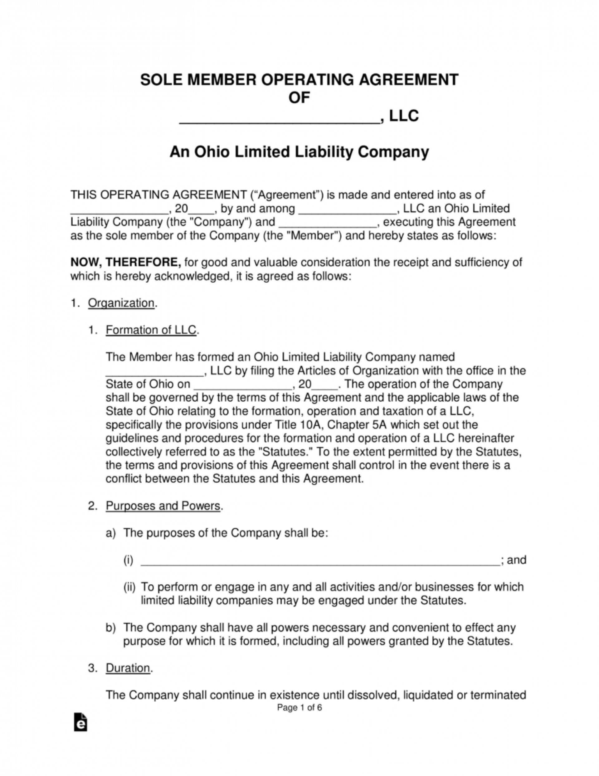 Single Member Llc Operating Agreement Template Pdf