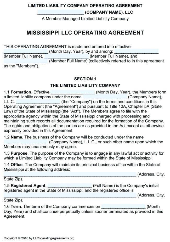 Single Member Llc Operating Agreement Virginia Template