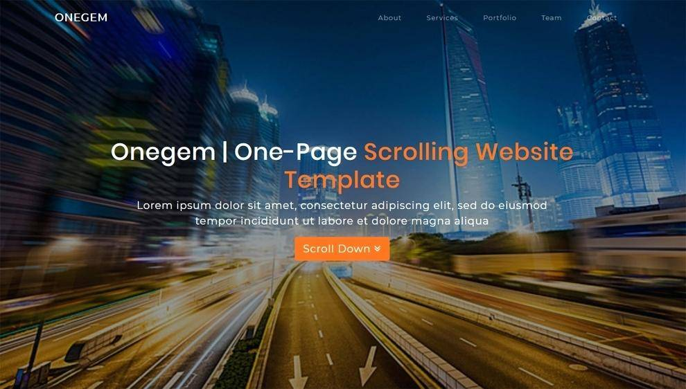 Single Page Vertical Scrolling Website Template