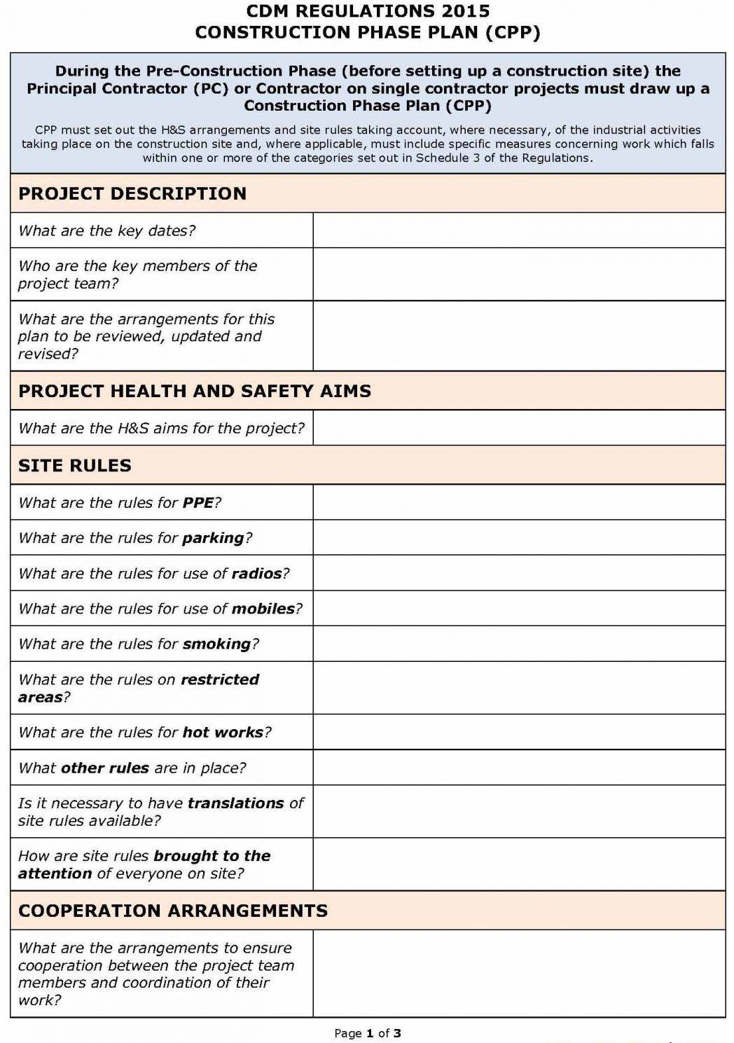 Site Specific Safety Plan Format