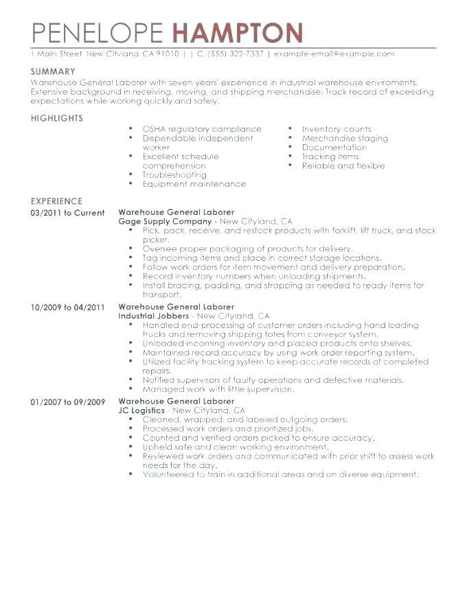 Skilled Laborer Resume Templates