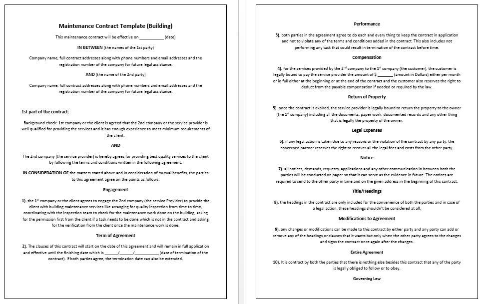 Small Business Contract Format