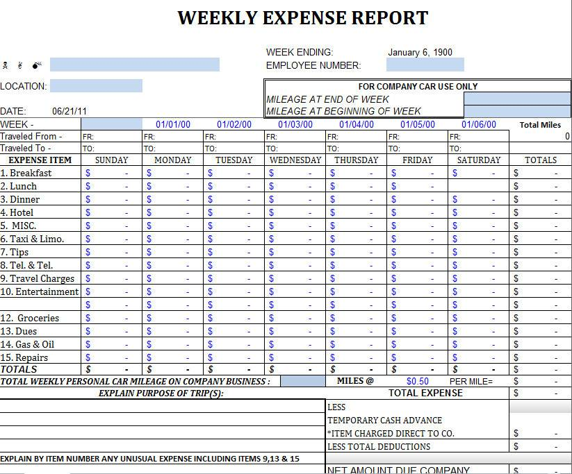 Small Business Monthly Business Expense Template