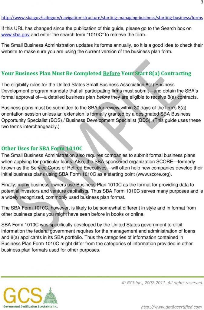 Small Business Plan Template Sba