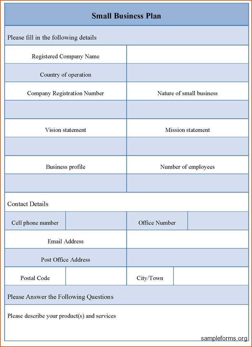 Small Business Plan Template Word
