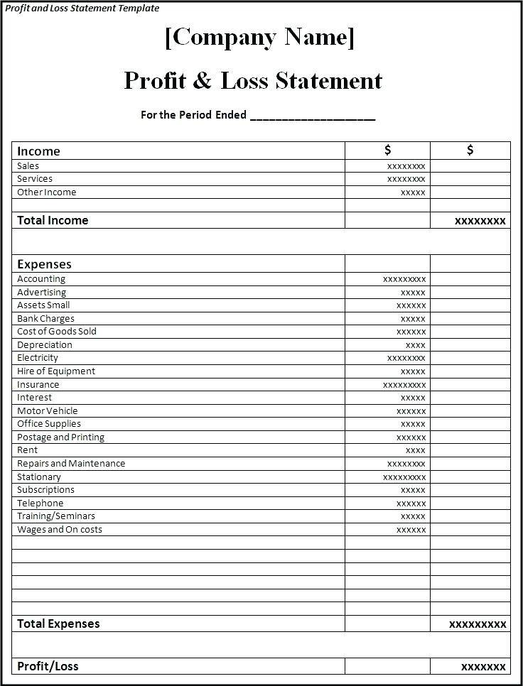 Small Business Profit And Loss Template Free