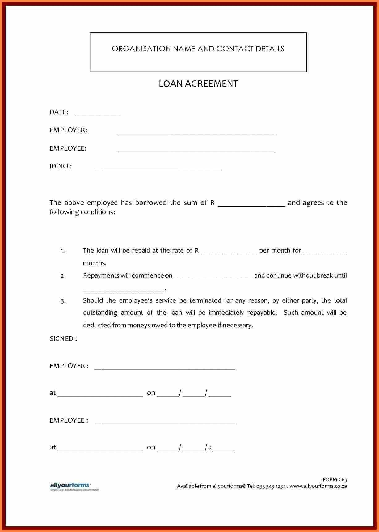 Small Loan Agreement Template