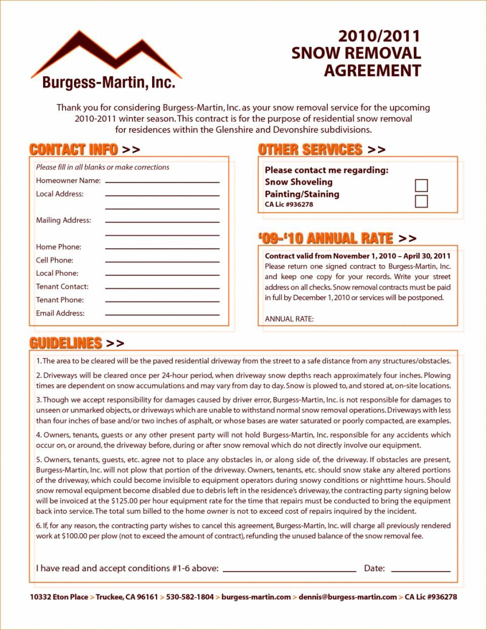 Snow Removal Agreement Template