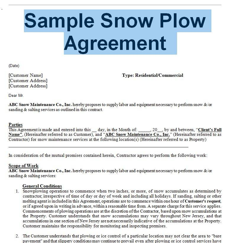 Snow Removal Contract Sample