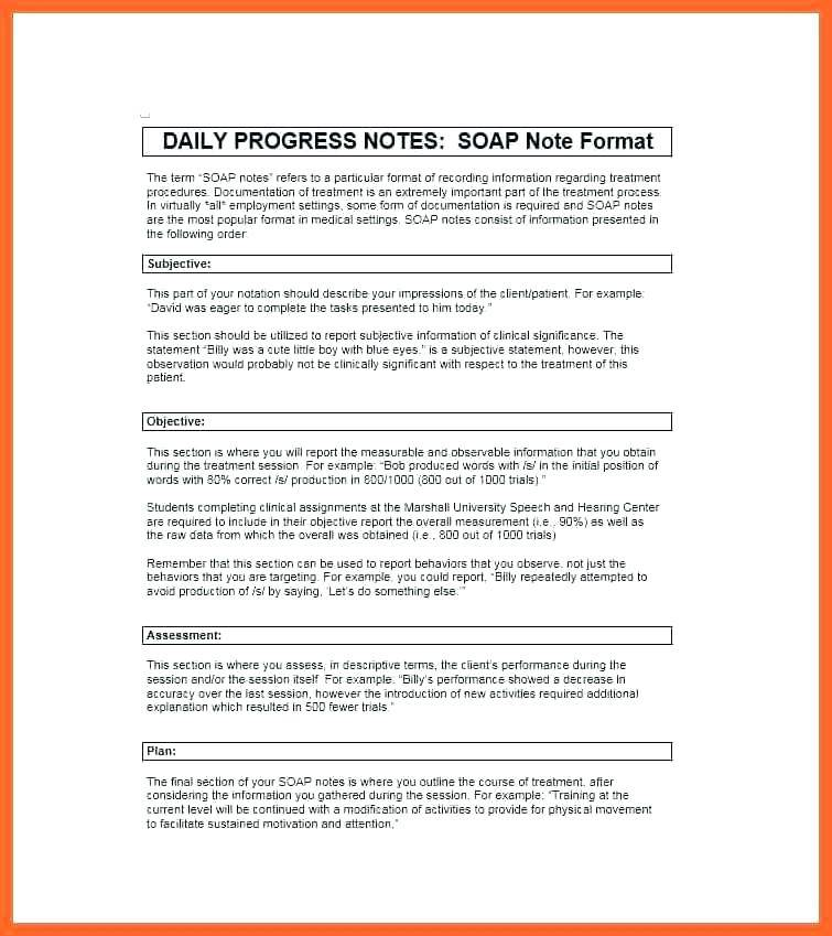 Soap Note Format Physical Therapy