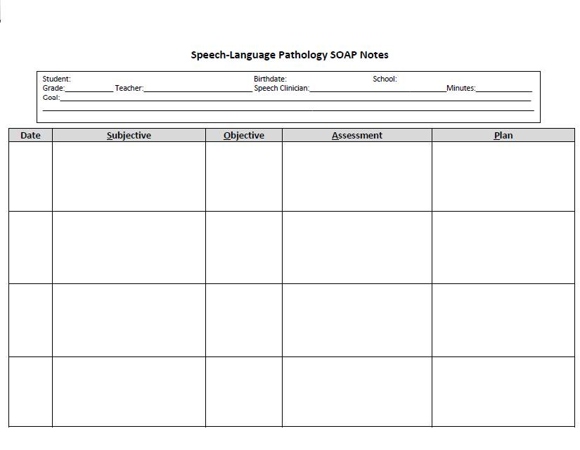 Soap Note Speech Therapy Template