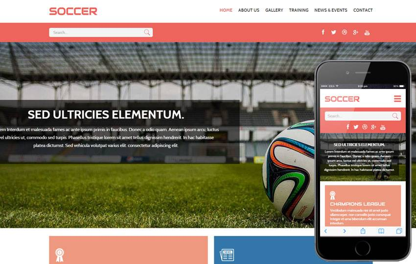 Soccer Website Templates Free Download