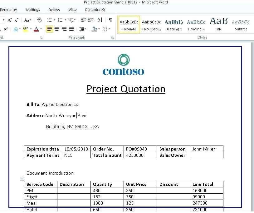 Software Cost Proposal Template