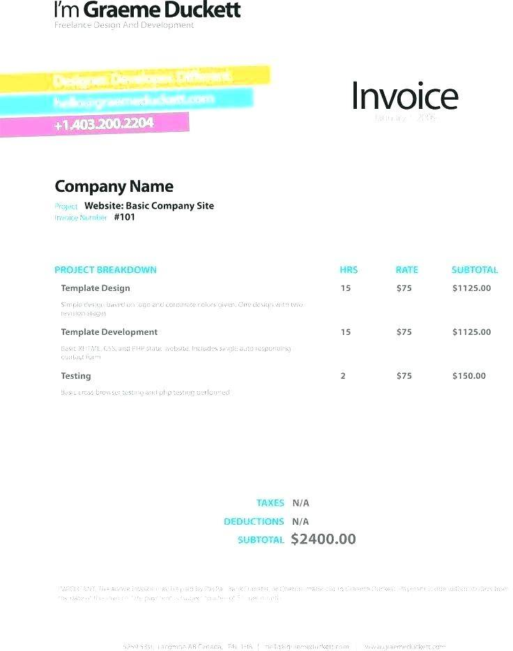 Software Development Invoice Sample