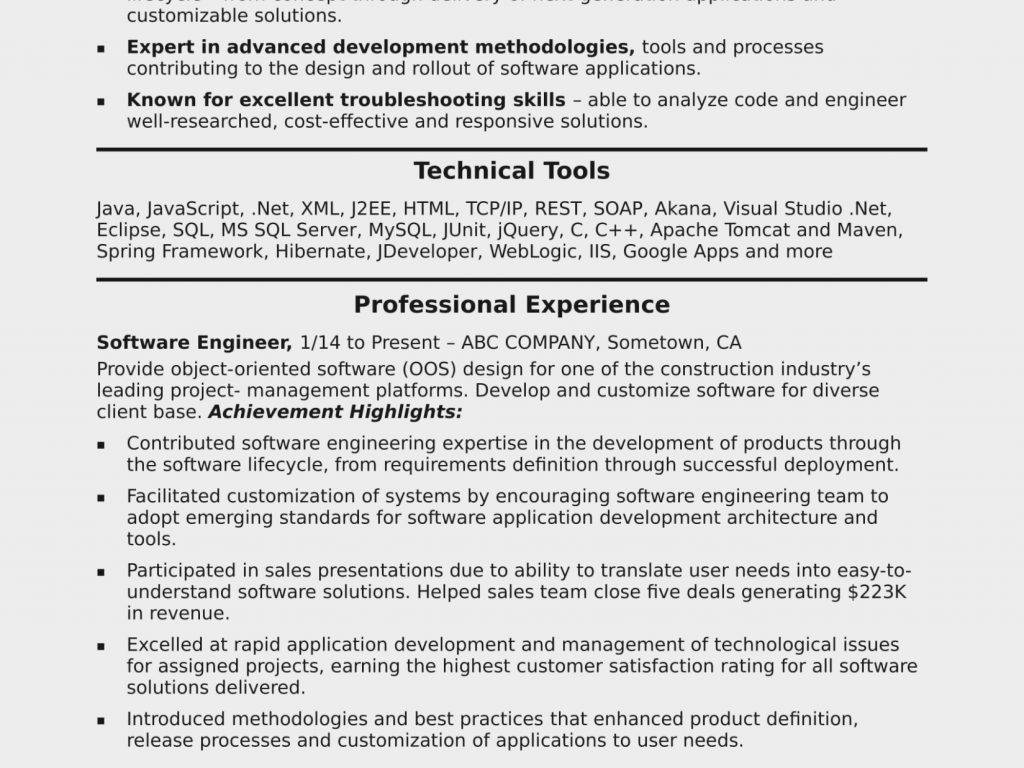 Software Engineer Cv Template Download
