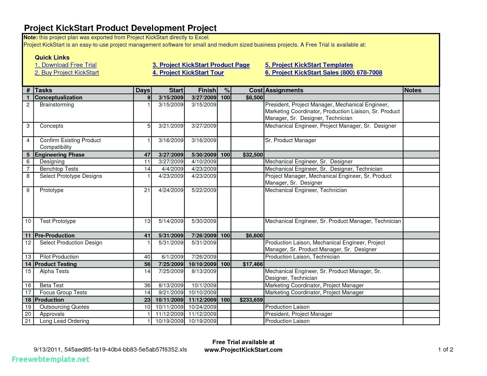 Software Project Management Excel Template Free