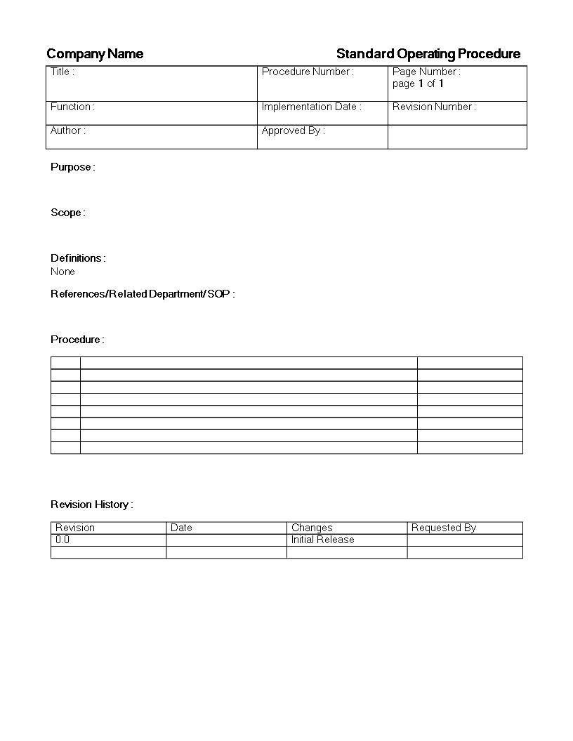 Sop Standard Operating Procedure Template