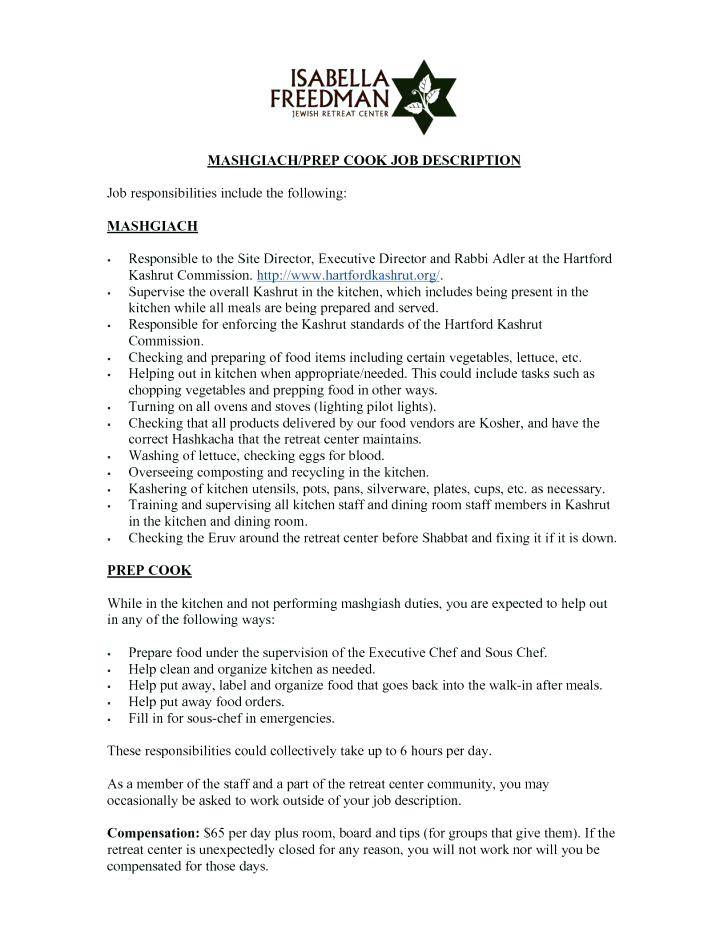 Sous Chef Job Description Example