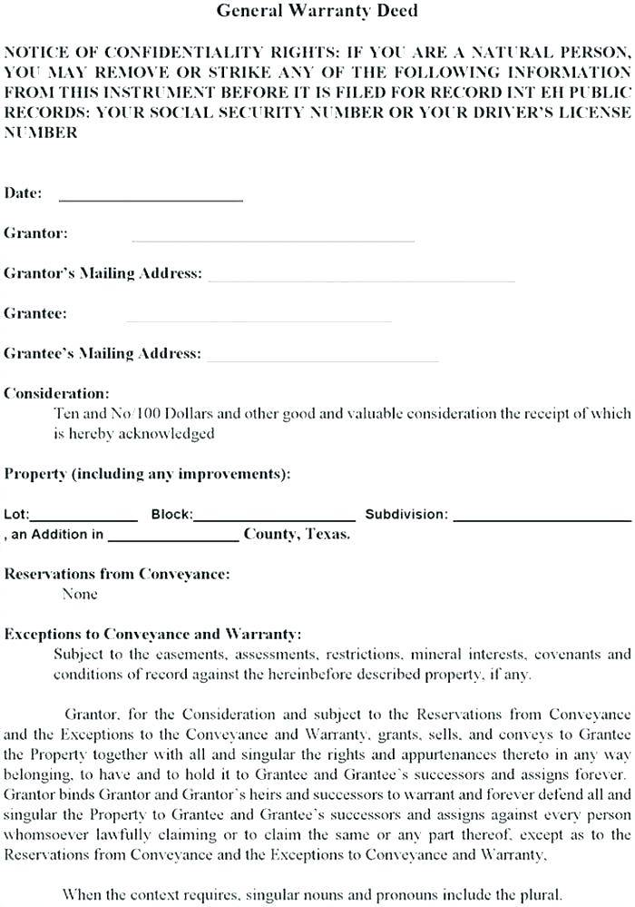South Carolina General Warranty Deed Template