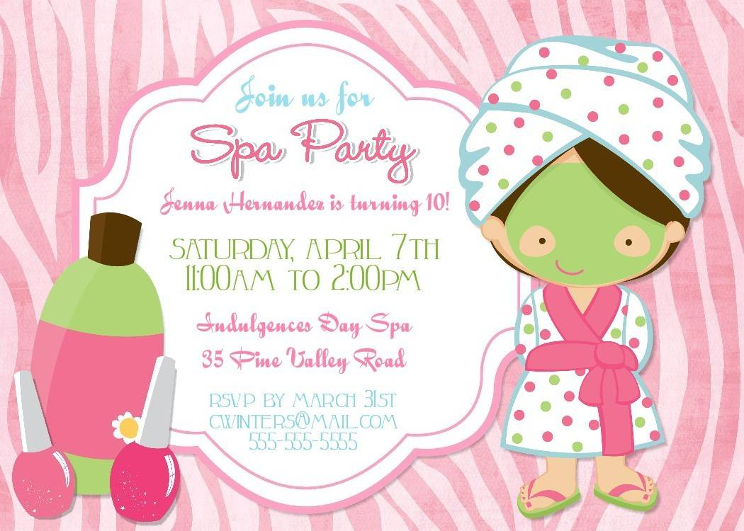 Spa Party Invitation Template Free